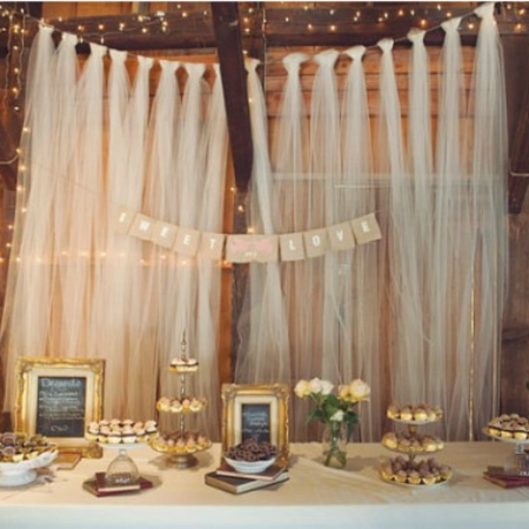 Create A Unique And Look With Our Tulle Ribbon Backdrop Made From Long Strand Of White Fabric This Would Be Perfect For Wedding